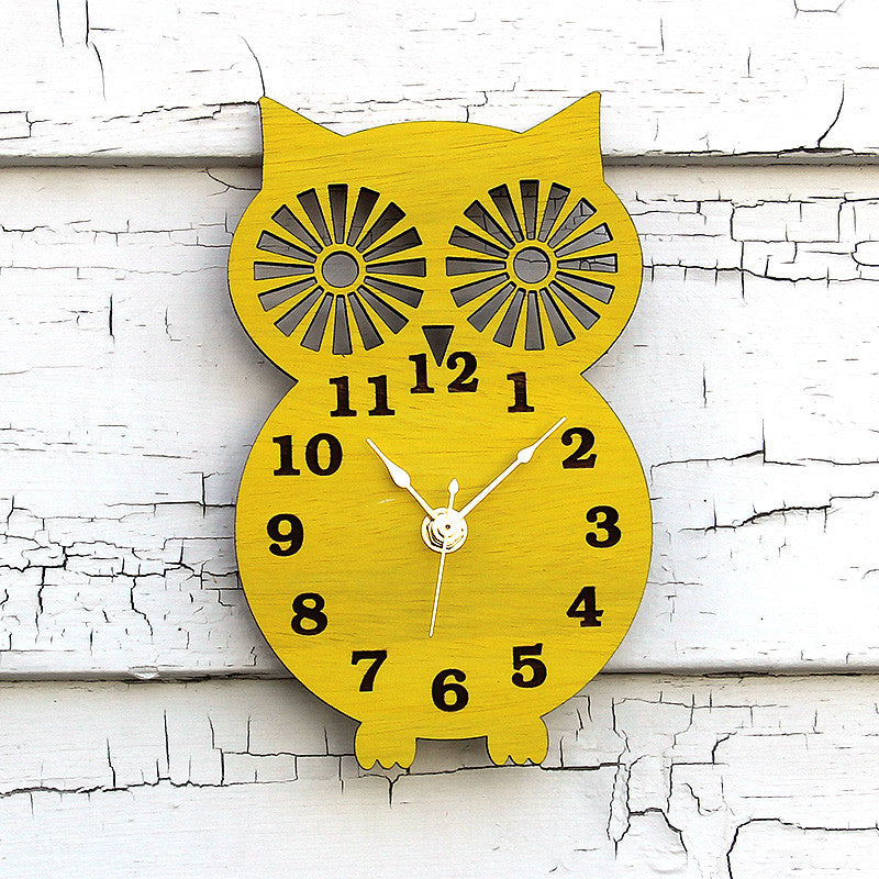Wall Clock Modern Wooden Owl Silhouette Home Decor with Canary Yellow Finish
