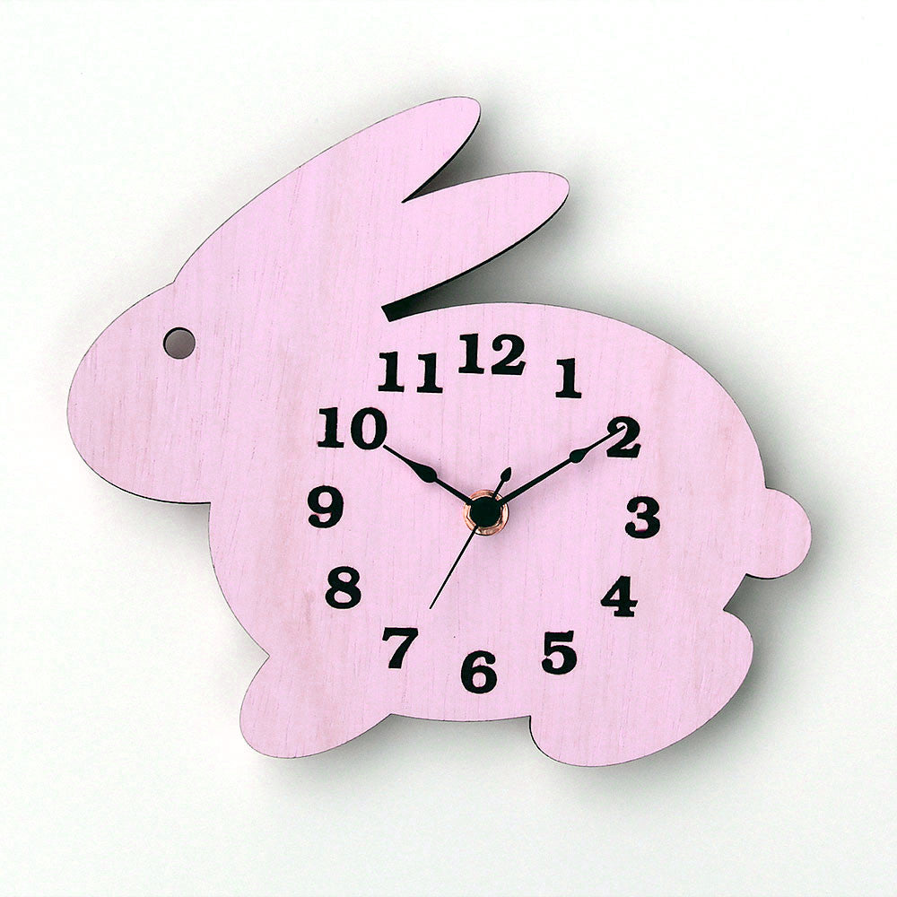 Wall Clock Modern Wooden Bunny Rabbit Silhouette Home Decor With Light Pink Finish And Black Hands