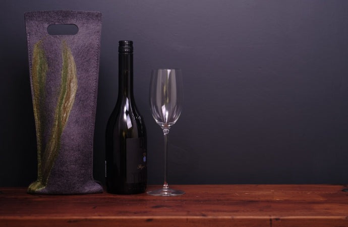 free flowing greens with silk - wine wallet