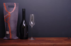 free flowing orange with silk - wine wallet