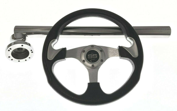 EZ-GO RXV and TXT Black and Silver Steering Wheel/Hub Adapter/Chrome Cover Kit