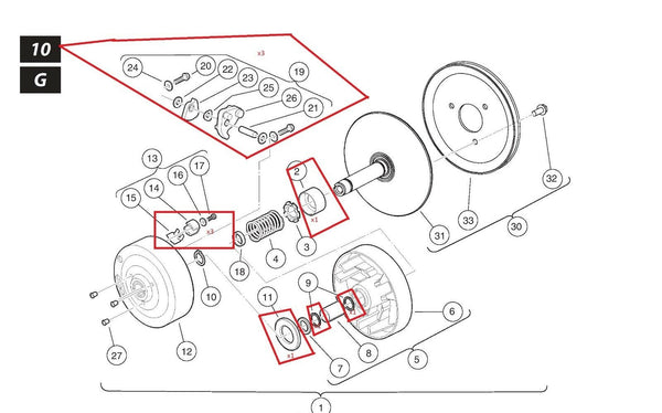 OEM Club Car Golf Cart Drive Clutch Rebuild Kit/Parts Kit for Clutch 101833902