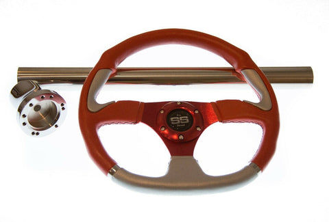 Yamaha Drive/G16-G22 Red Steering Wheel/Hub Adapter/Chrome Cover Kit
