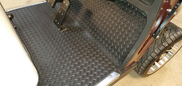 EZ-GO TXT 1996 to Current Golf Cart Black Rubber Diamond Plate Floor Mat