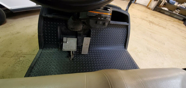 Yamaha Drive 2007 to Current Golf Cart Black Rubber Diamond Plate Floor Mat