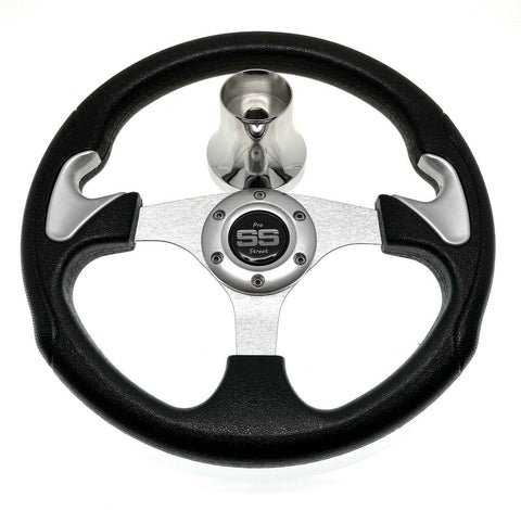 Black and Silver Club Car Precedent Steering Wheel with Hub Adapter