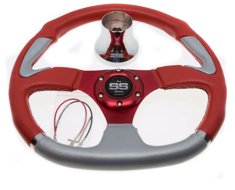 Club Car DS Steering Wheel with Hub Adapter - Red and Silver - 1985 to Current