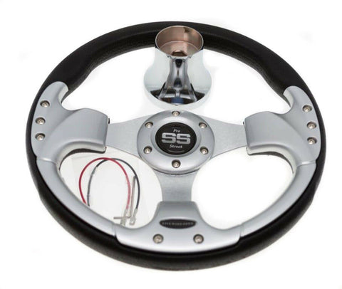 Club Car Precedent Steering Wheel with Hub Adapter - Black and Silver 2004+