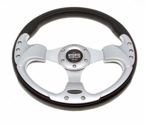 Golf Cart Steering Wheel 6 Hole Pattern - Black / Silver