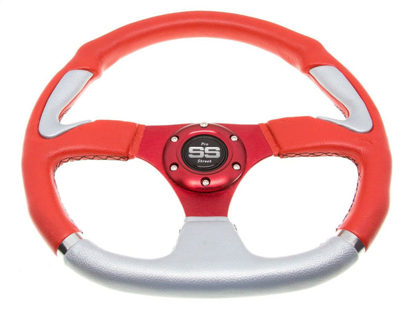 Golf Cart Steering Wheel 6 Hole Pattern - Red & Grey