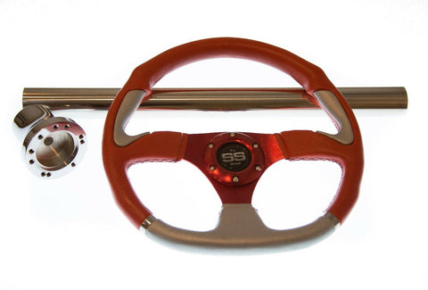 Club Car Precedent Red Steering Wheel/Hub Adapter/Chrome Cover Kit 2004+