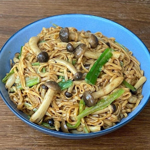 Braised E-Fu Noodles With Mushrooms,  Chives And Dried Sole Power