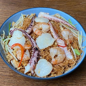 "Wok-Fried ""Mee Sua"" With Diced Seafood, Egg And Bean Sprouts"