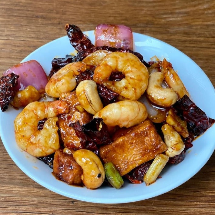 "Wok-Fried Prawn And Tofu With Cashew Nuts And Dried Chilli In ""Kong Po"" Sauce"
