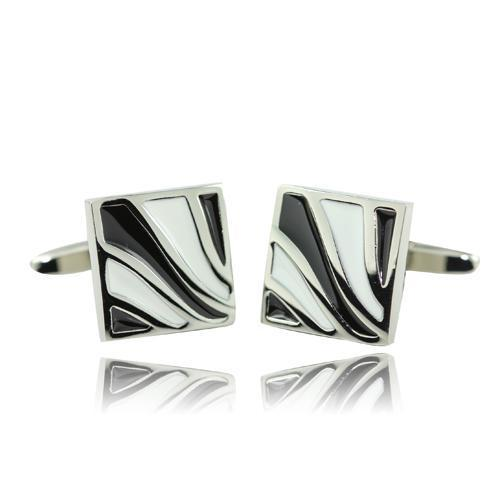 Black And White Swirl Cufflinks-Cufflinks-TheCuffShop-C00949-TheCuffShop.com.au
