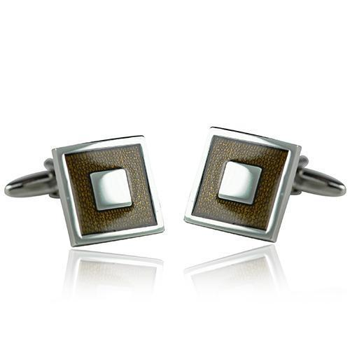 Brown And Silver Square Cufflinks-Cufflinks-TheCuffShop-C00422-TheCuffShop.com.au
