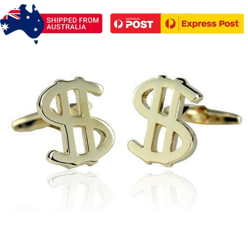 Gold Dollar Signs Cufflinks-Cufflinks-TheCuffShop-C00875-TheCuffShop.com.au