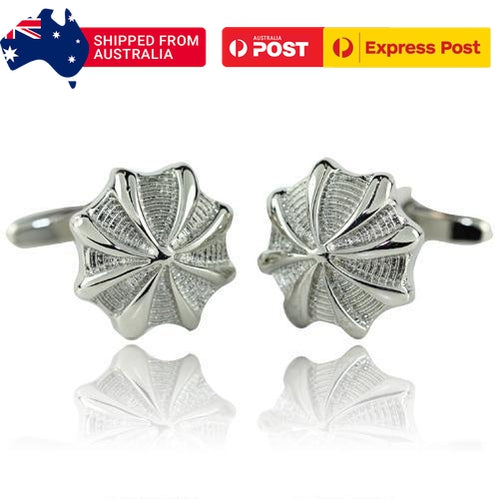 Pinched Silver Circle Cufflinks-Cufflinks-TheCuffShop-C00256-TheCuffShop.com.au