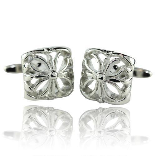 Pinched Silver Square Cufflinks-Cufflinks-TheCuffShop-C00255-TheCuffShop.com.au