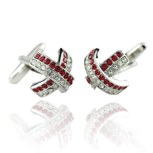 Red And Clear Cross Curve Cufflinks-Cufflinks-TheCuffShop-C00917-TheCuffShop.com.au