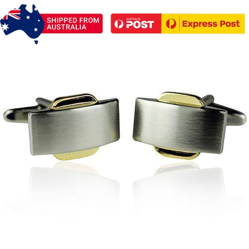 Silver And Gold Subway Cufflinks-Cufflinks-TheCuffShop-C00513-TheCuffShop.com.au