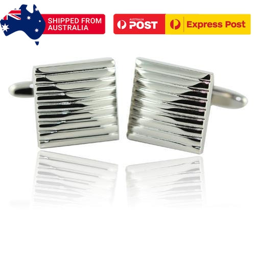 Silver Lined Cufflinks-Cufflinks-TheCuffShop-C01473-TheCuffShop.com.au