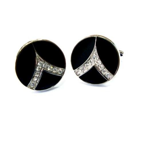 Silver Stone On Black Circle Cufflinks-Cufflinks-TheCuffShop-C00331-TheCuffShop.com.au