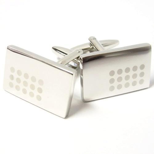 White Barcode On Silver Rectangle Cufflinks-Cufflinks-TheCuffShop-C00567-TheCuffShop.com.au