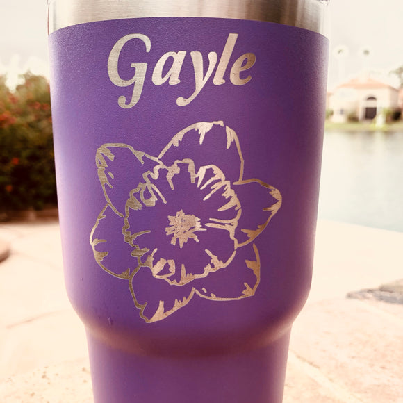 Custom Engraved TUMBLER; Personalized Tumbler; Logo, unique designs - 30oz