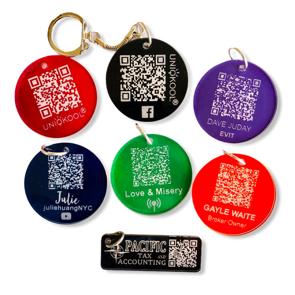 Personalized QR Code keychain or bag tag