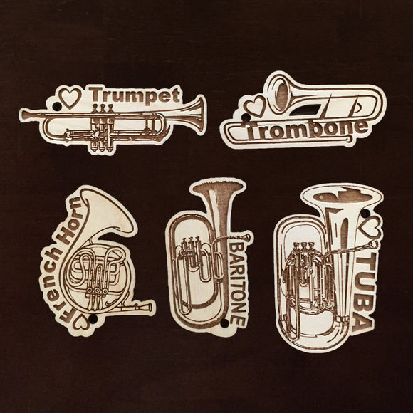 Personalized Music instrument tags, flute, baritone, trumpet, bassoon, piccolo, tuba, trombone, saxophone, french horn, oboe
