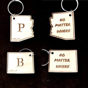 "Go Away Gift set, Graduation gift, Best Friend gift or Long Distance Friendship Gift with Message ""No Matter Where""- Set of 2 State Keychains"