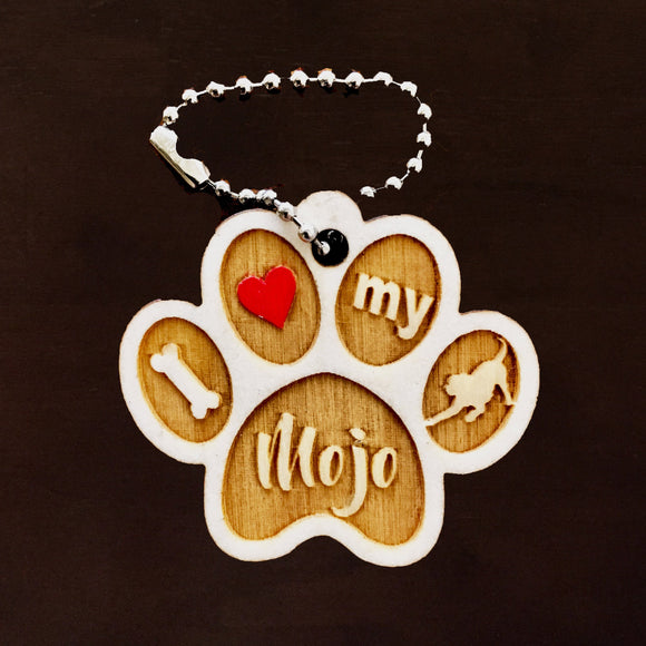 PAW - Dog or Cat -Personalized Keychain or Magnet