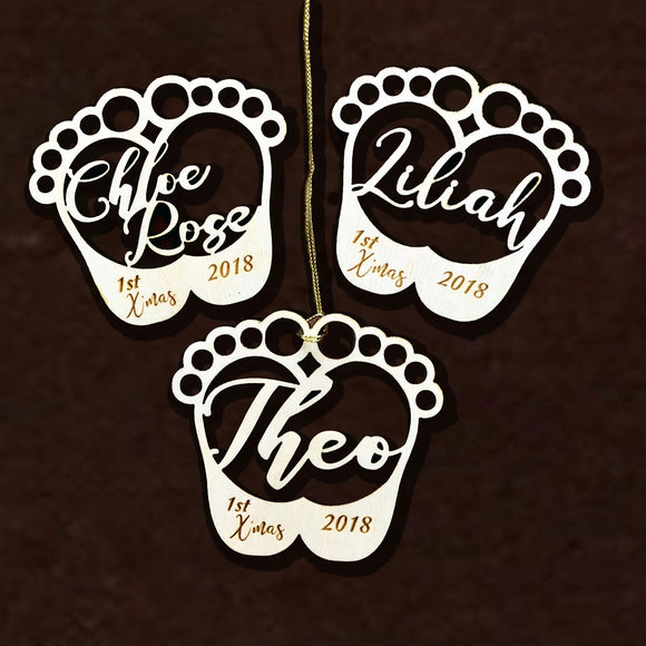 Baby Foot Print Personalized Ornament, Baby Ornament, 1st Christmas, Baby 1st Holiday