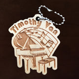 Piano keychain, Engraved Personalized Piano music tag