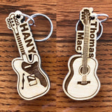 Personalized guitar, Acoustic or Electric guitar keychain, musical instrument keychain, string instrument