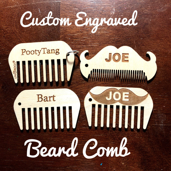 Beard comb, Custom Engraved Wood Mustache Comb; Personalized comb, Engraving on both sides optional