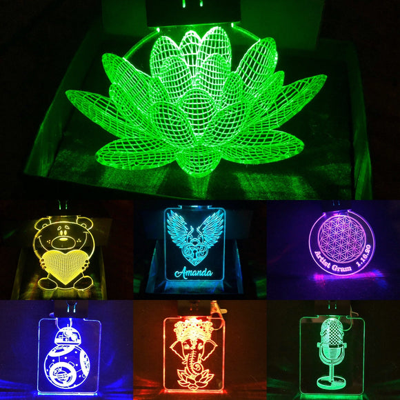 Custom LED Keychain in Multicolors in Various Designs