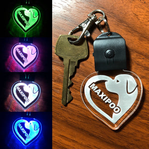 LED keychain in Multicolors - Dog, Cat, Bear and many designs - Personalize option