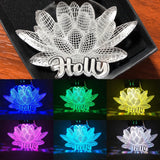 LOTUS flower LED keychain in multicolors - Personalize option