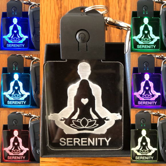LED keychain - YOGA-Lotus Flower keychain in multicolors-SERENITY