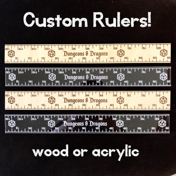 Custom ruler, Personalized Ruler - 12 inch in wood or clear acrylic, graduation gift, teachers gift, d20 ruler