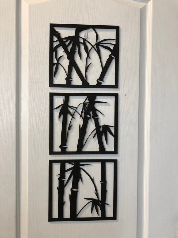 Bamboo Wall Decor Set of 3 panels,  Bamboo art