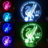 Liverpool Football Club, FLC Soccer LED lamp, color changing night lamp, You'll never walk alone