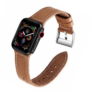Classic Leather Buckle Apple Watch Band Hughes on white background