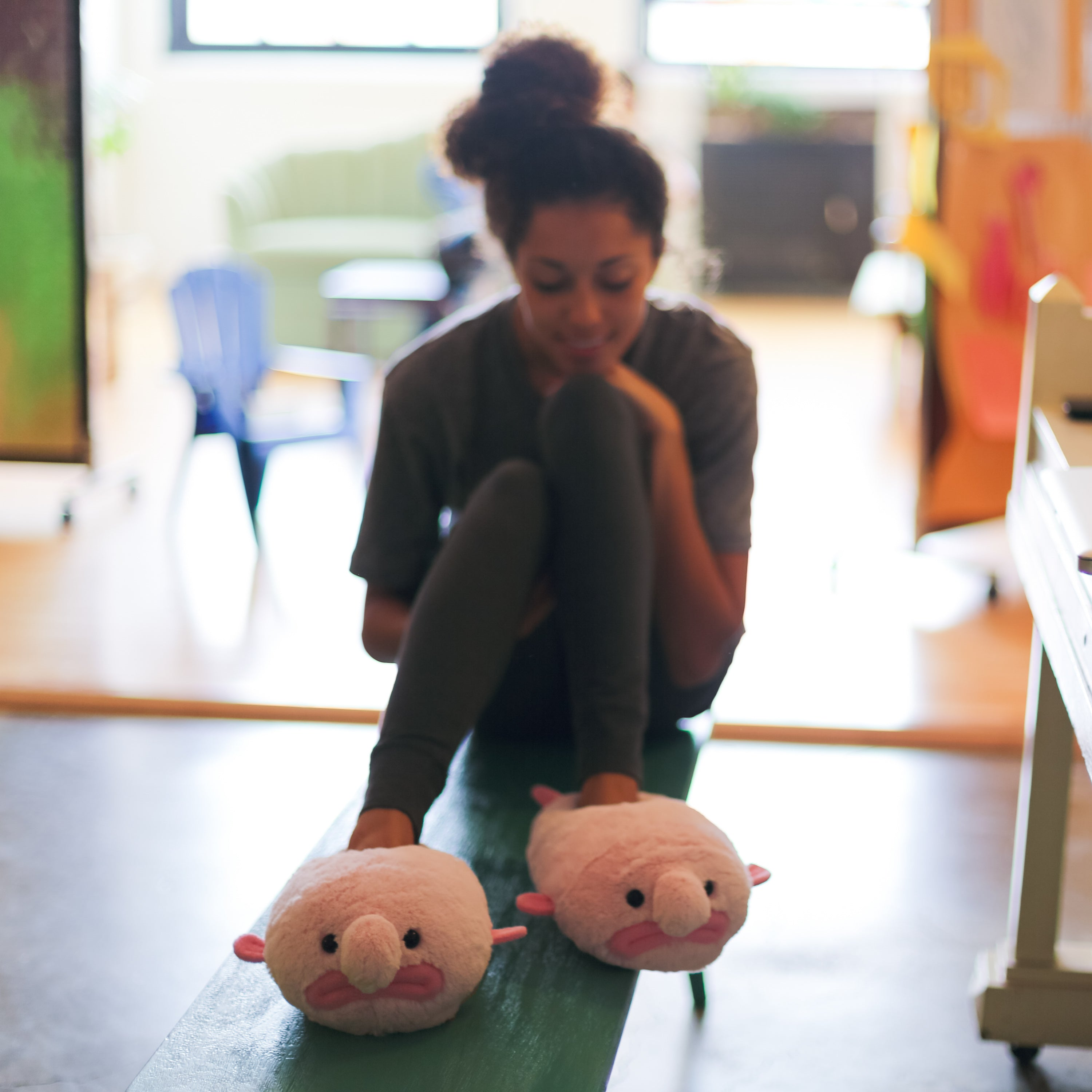 Blobfish slippers on model