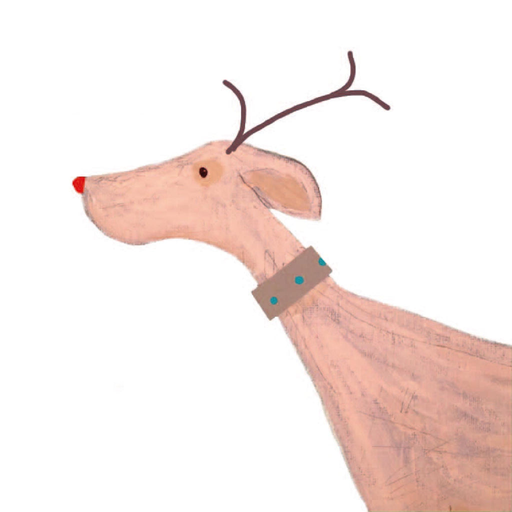 Antler dog as square luxury Christmas card