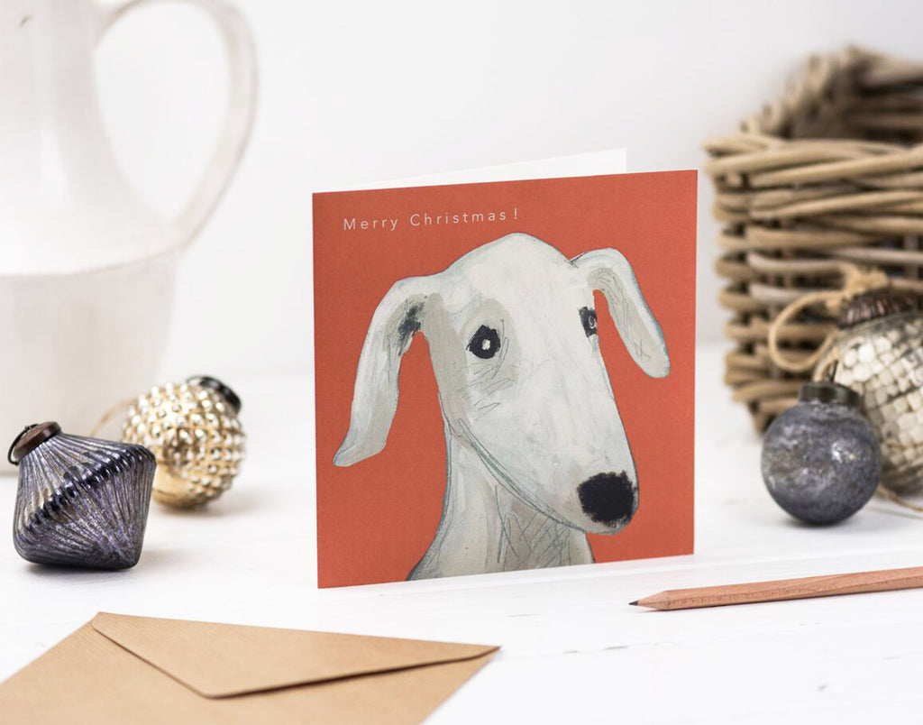 Dog Days red Christmas card