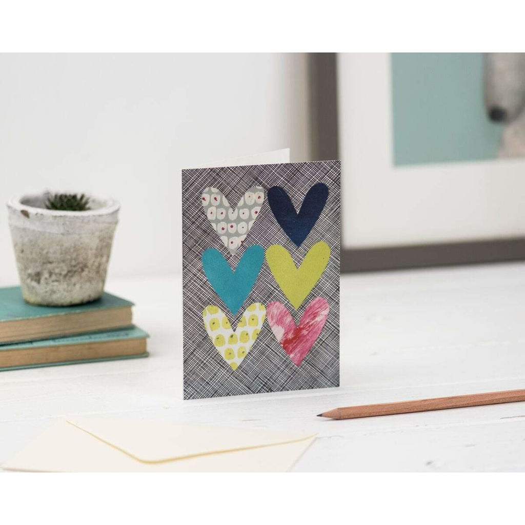 Print Circus A6 Greetings Card PP01 Patterned Hearts Greetings Card