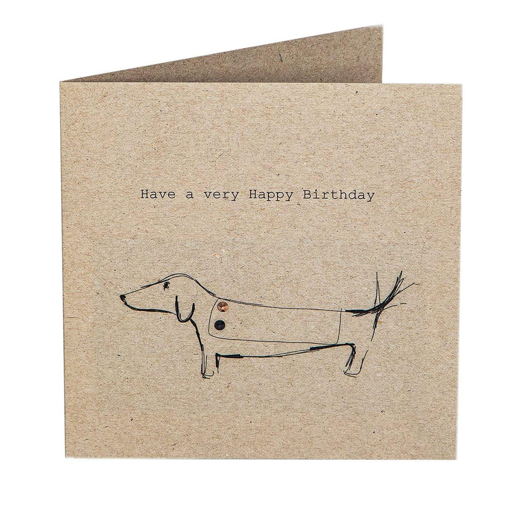 Print Circus Embellished Greetings Card NT03 Have a Very Happy Birthday (Sausage) square embellished card